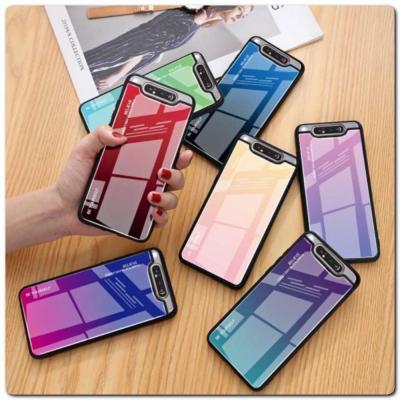 Защитный Чехол Gradient Color из Стекла и Силикона для Samsung Galaxy A80 Золотой / Розовый