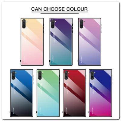 Защитный Чехол Gradient Color из Стекла и Силикона для Samsung Galaxy Note 10 Синий / Черный