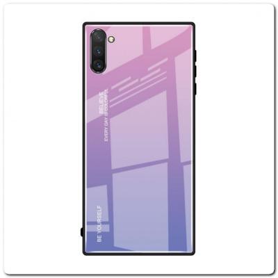 Защитный Чехол Gradient Color из Стекла и Силикона для Samsung Galaxy Note 10+ / Note 10 Plus Розовый