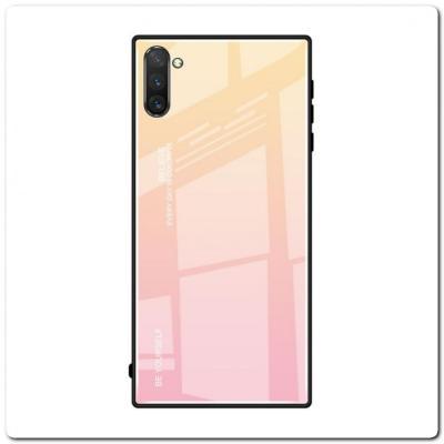 Защитный Чехол Gradient Color из Стекла и Силикона для Samsung Galaxy Note 10+ / Note 10 Plus Золотой / Розовый