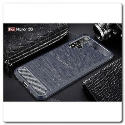 Защитный Матовый Carbon Силиконовый Чехол для Huawei Honor 20 Синий