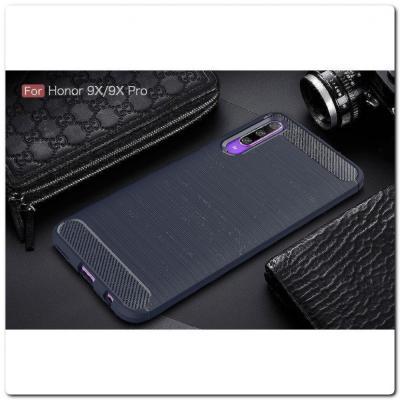 Защитный Матовый Carbon Силиконовый Чехол для Huawei Honor 9X / Huawei Honor 9X Pro Синий
