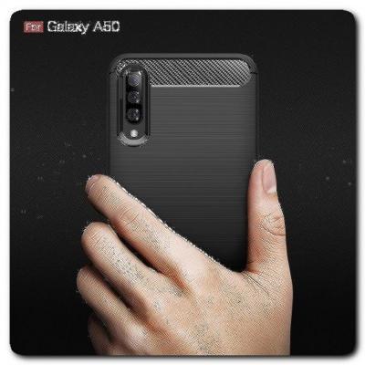 Защитный Матовый Carbon Силиконовый Чехол для Samsung Galaxy A50 Черный