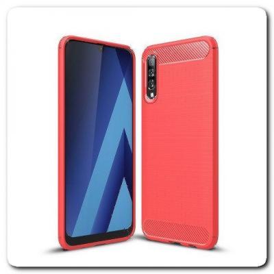 Защитный Матовый Carbon Силиконовый Чехол для Samsung Galaxy A50 Красный