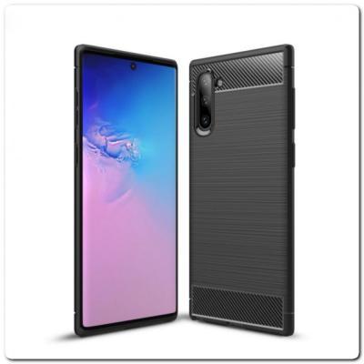 Защитный Матовый Carbon Силиконовый Чехол для Samsung Galaxy Note 10 Черный