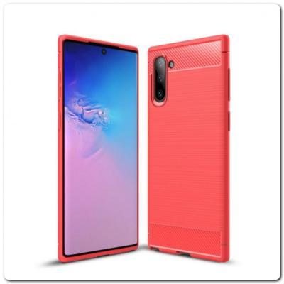Защитный Матовый Carbon Силиконовый Чехол для Samsung Galaxy Note 10 Красный