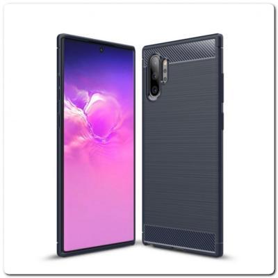 Защитный Матовый Carbon Силиконовый Чехол для Samsung Galaxy Note 10+ / Note 10 Plus Синий