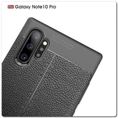 Защитный Силиконовый Чехол Leather Cover для Samsung Galaxy Note 10+ / Note 10 Plus с Кожаной Текстурой Черный
