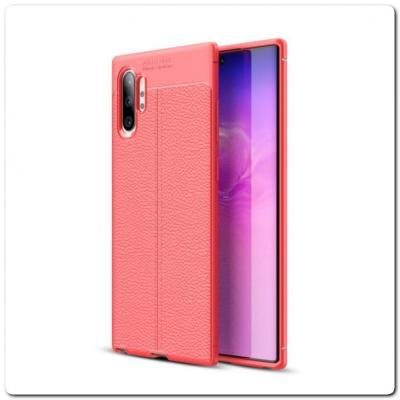 Защитный Силиконовый Чехол Leather Cover для Samsung Galaxy Note 10+ / Note 10 Plus с Кожаной Текстурой Красный