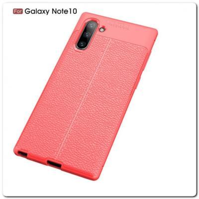Защитный Силиконовый Чехол Leather Cover для Samsung Galaxy Note 10 с Кожаной Текстурой Красный