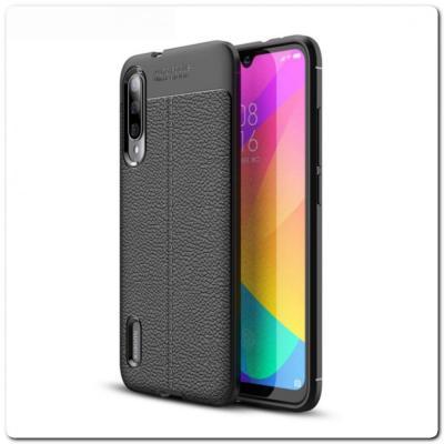 Защитный Силиконовый Чехол Leather Cover для Xiaomi Mi A3 с Кожаной Текстурой Черный