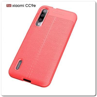 Защитный Силиконовый Чехол Leather Cover для Xiaomi Mi A3 с Кожаной Текстурой Красный