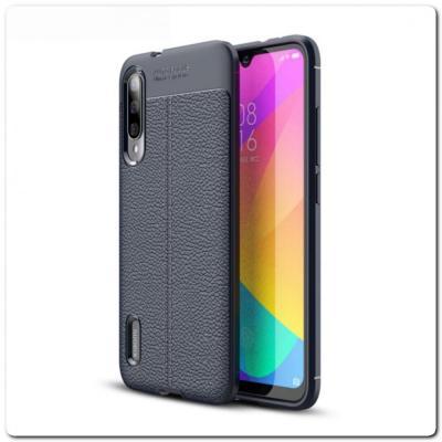 Защитный Силиконовый Чехол Leather Cover для Xiaomi Mi A3 с Кожаной Текстурой Синий
